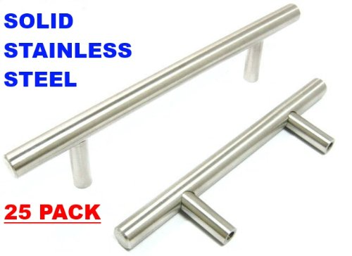 Pandora SOLID Stainless Steel Bar Pull Handle For Drawer Kitchen Cabinet  Hardware 6 Inch T Pull U2013 25 PACK