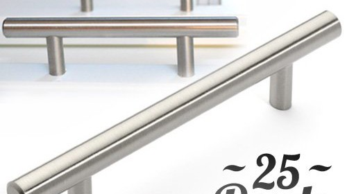 25pcs bar handle pull kitchen cabinet hardware finebrushed satin nickel finish euro style 3u2033 hole center strong u0026 durable hardware these pulls can