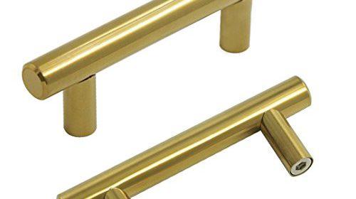 probrico brushed brass modern cabinet hardware handle pull kitchen cabinet t bar knobs and pull handles golden u2013 212u2033 hole spacing u2013 10 pack golden color