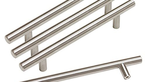 probrico stainless steel modern cabinet drawer handle pulls kitchen cupboard t bar knobs and pull handles brushed nickel u2013 5 inch hole centers u2013 15pack