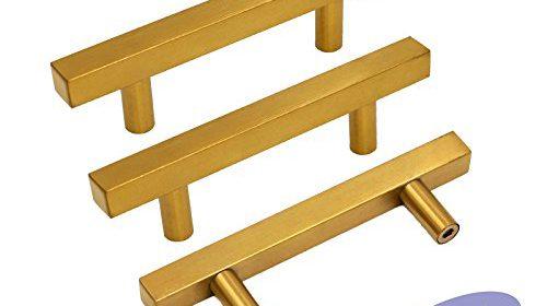 Gold Cabinet Pulls Kitchen Hardware Drawer Pulls Knobs U2013 Goldenwarm  LS1212GD76 Square T Bar Brushed Brass Cupboard Door Handles 3 Inch Hole  Centers ...