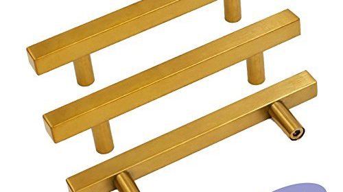 Gold Cabinet Pulls Kitchen Hardware Drawer Pulls Knobs U2013 Goldenwarm  LS1212GD96 Square T Bar Brushed Brass Cupboard Door Handles 3 3/4 Inch Hole  Centers ...
